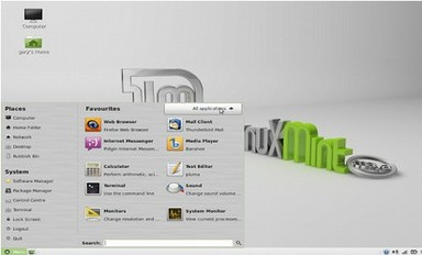 Figure 1.1.04 Linux Mint has a menu similar to Windows XP and Windows 7.